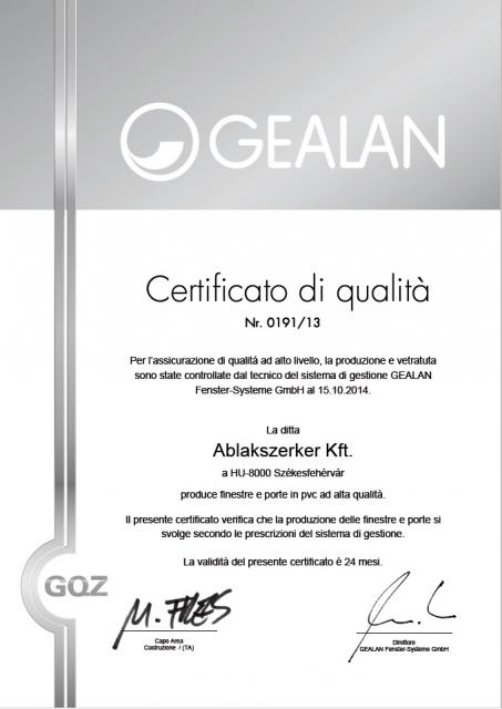 Certificato di qualitá