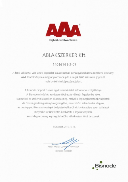 Bisnode AAA tanúsítvány